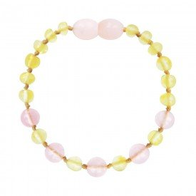 pulseira de ambar baroque lemon quartzo rose 14 cm
