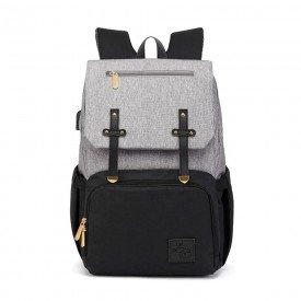 mochila de maternidade donna laco bebe lb ayane cinza e preto 1