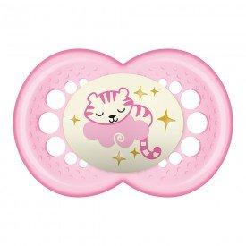 2526 chupeta mam original night para a paritr dos 6 meses 6m tamanho 2 rosa gatinho