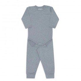 conjunto de body para bebe dedeka em thermo dry cinza mescla