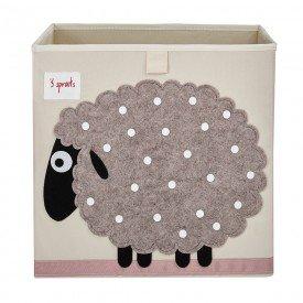 cesto organizador 3 sprouts quadrado encanto enxovais ovelha